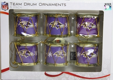 Baltimore Ravens 2012 Plastic Drum 6 Pack Ornament Set
