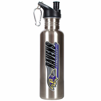 Baltimore Ravens 26oz Stainless Steel Water Bottle (Silver)