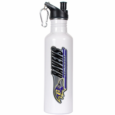 Baltimore Ravens 26oz Stainless Steel Water Bottle (White)