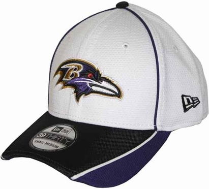 Baltimore Ravens 39THIRTY Abrasion Plus Fitted Hat - White