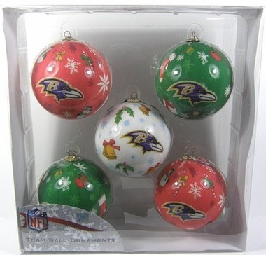 Baltimore Ravens 5 Pack Decoupage Ball Ornament Set