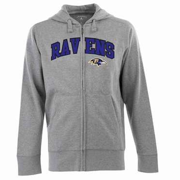 Baltimore Ravens Mens Applique Full Zip Hooded Sweatshirt (Color: Gray)