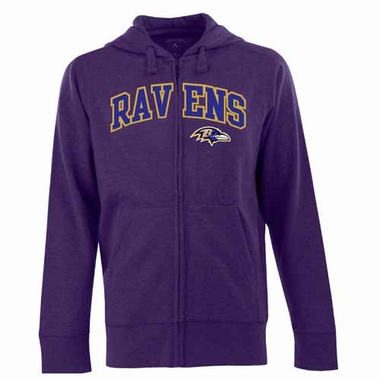 Baltimore Ravens Mens Applique Full Zip Hooded Sweatshirt (Color: Purple)