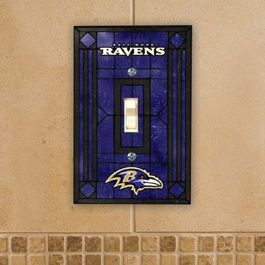 Baltimore Ravens Art Glass Lightswitch Cover