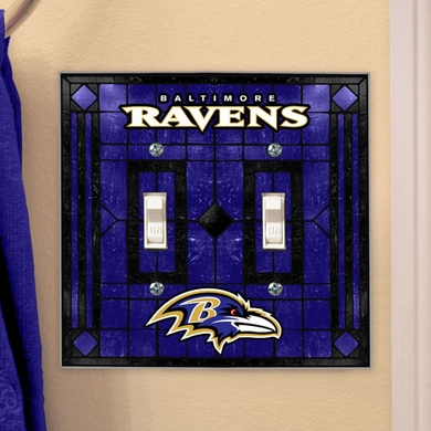 Baltimore Ravens Art Glass Lightswitch Cover (Double)