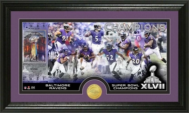 Baltimore Ravens Baltimore Ravens Super Bowl XLVII Champions Bronze Coin Pano Photo Mint
