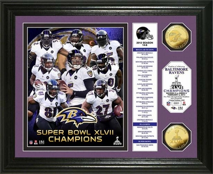 Baltimore Ravens Baltimore Ravens Super Bowl XLVII Champions Gold Coin Banner Photo Mint