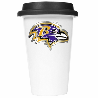 Baltimore Ravens Ceramic Travel Cup (Black Lid)