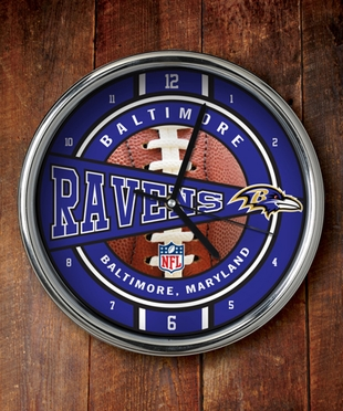 Baltimore Ravens Chrome Clock