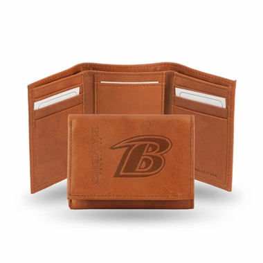 Baltimore Ravens Embossed Leather Trifold Wallet