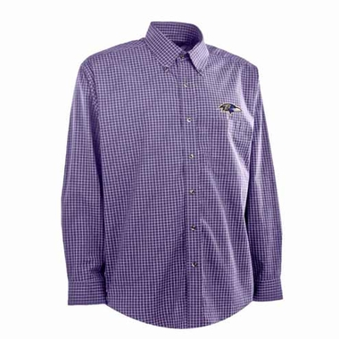 Baltimore Ravens Mens Esteem Check Pattern Button Down Dress Shirt (Team Color: Purple)