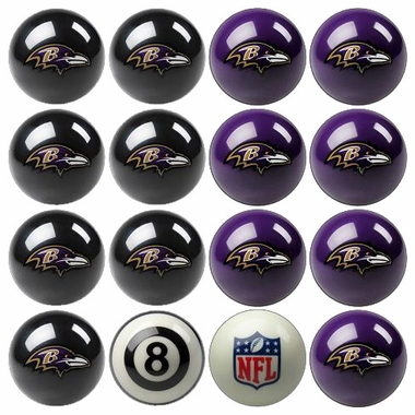 Baltimore Ravens Home and Away Complete Billiard Ball Set