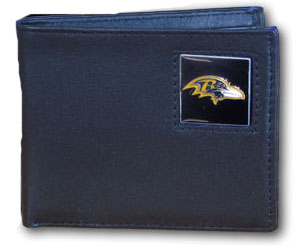 Baltimore Ravens Leather Bifold Wallet (F)