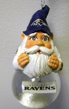 Baltimore Ravens Light Up Gnome Snow Globe Ornament