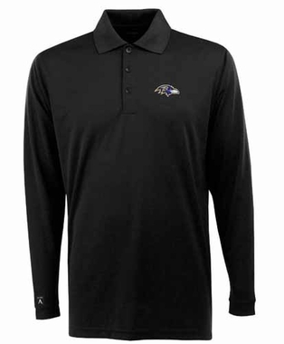 Baltimore Ravens Mens Long Sleeve Polo Shirt (Team Color: Black)