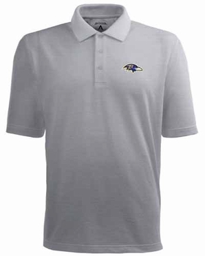Baltimore Ravens Mens Pique Xtra Lite Polo Shirt (Color: Gray)