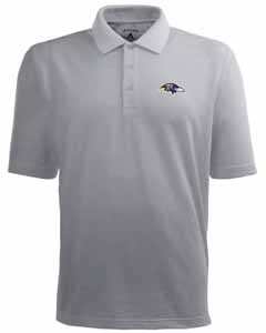 Baltimore Ravens Mens Pique Xtra Lite Polo Shirt (Color: Gray) - Large