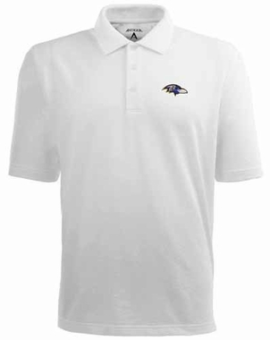 Baltimore Ravens Mens Pique Xtra Lite Polo Shirt (Color: White)
