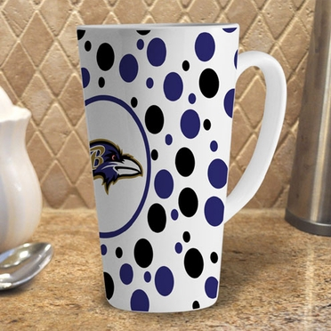 Baltimore Ravens Polkadot 16 oz. Ceramic Latte Mug