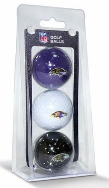 Baltimore Ravens Set of 3 Multicolor Golf Balls