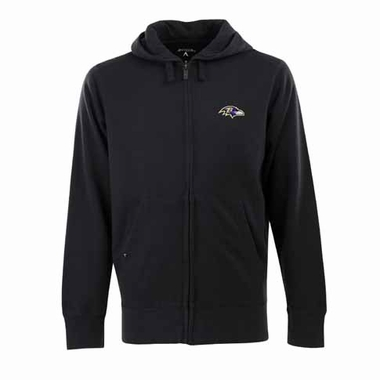 Baltimore Ravens Mens Signature Full Zip Hooded Sweatshirt (Color: Black)