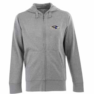 Baltimore Ravens Mens Signature Full Zip Hooded Sweatshirt (Color: Gray) - Large