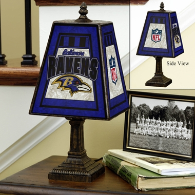 Baltimore Ravens Small Art Glass Lamp