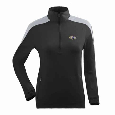 Baltimore Ravens Womens Succeed 1/4 Zip Performance Pullover (Team Color: Black)