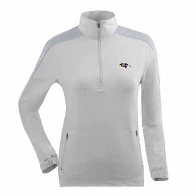Baltimore Ravens Womens Succeed 1/4 Zip Performance Pullover (Color: White)