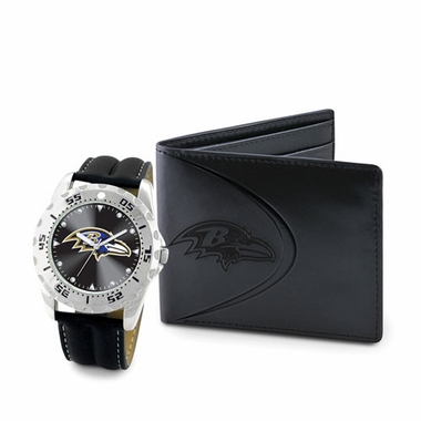 Baltimore Ravens Watch and Wallet Gift Set
