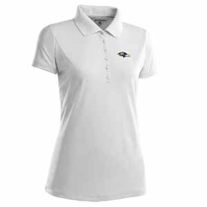 Baltimore Ravens Womens Pique Xtra Lite Polo Shirt (Color: White) - X-Large