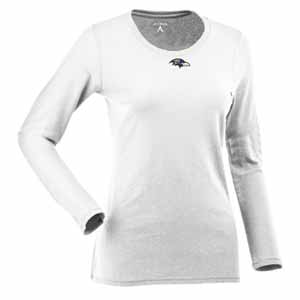 Baltimore Ravens Womens Relax Long Sleeve Tee (Color: White) - Medium