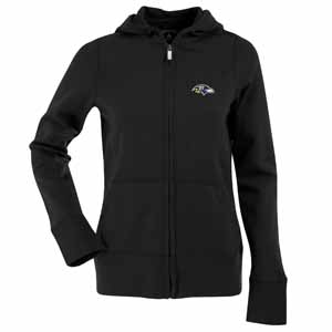 Baltimore Ravens Womens Zip Front Hoody Sweatshirt (Alternate Color: Black) - Large