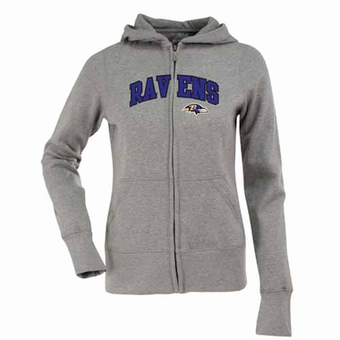 Baltimore Ravens Applique Womens Zip Front Hoody Sweatshirt (Color: Gray)