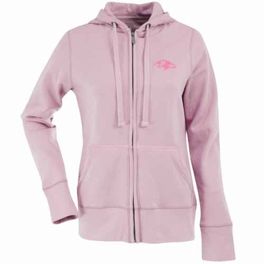Baltimore Ravens Womens Zip Front Hoody Sweatshirt (Color: Pink)