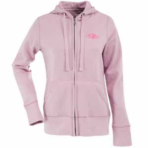 Baltimore Ravens Womens Zip Front Hoody Sweatshirt (Color: Pink) - Small