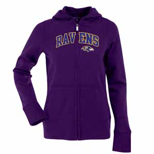 Baltimore Ravens Applique Womens Zip Front Hoody Sweatshirt (Team Color: Purple) - Large