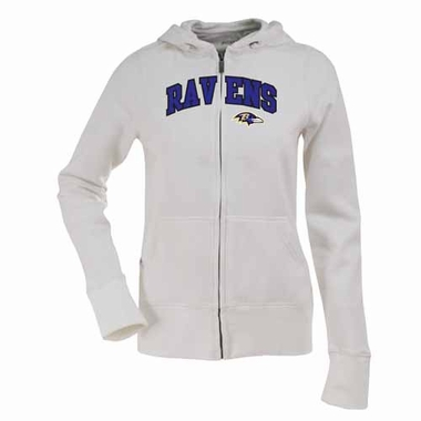 Baltimore Ravens Applique Womens Zip Front Hoody Sweatshirt (Color: White)