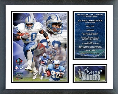 Barry Sanders - 2004 Pro Football Hall Of Fame Induction Commemorative - Framed Milestones & Memories