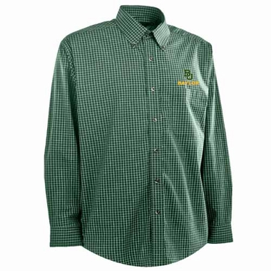 Baylor Mens Esteem Check Pattern Button Down Dress Shirt (Team Color: Green)