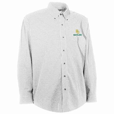 Baylor Mens Esteem Check Pattern Button Down Dress Shirt (Color: White)