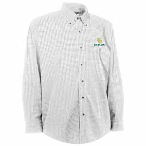 Baylor Mens Esteem Check Pattern Button Down Dress Shirt (Color: White) - Small