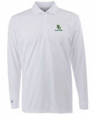 Baylor Mens Long Sleeve Polo Shirt (Color: White)