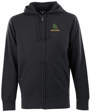 Baylor Mens Signature Full Zip Hooded Sweatshirt (Team Color: Black)