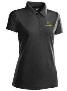Baylor Womens Pique Xtra Lite Polo Shirt (Color: Black) - Large