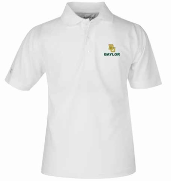 Baylor YOUTH Unisex Pique Polo Shirt (Color: White)