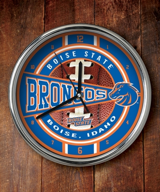 Boise State Chrome Clock