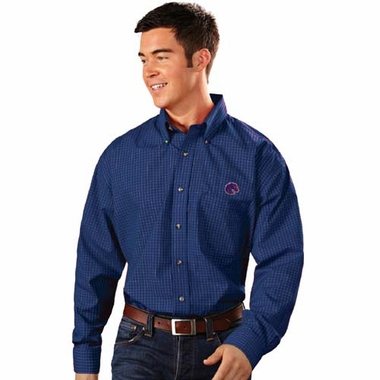 Boise State Mens Esteem Check Pattern Button Down Dress Shirt (Team Color: Royal)