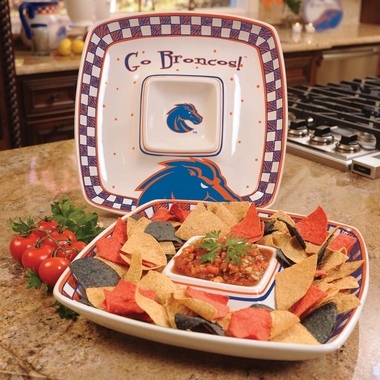 Boise State Gameday Ceramic Chip and Dip Platter