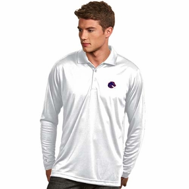 Boise State Mens Long Sleeve Polo Shirt (Color: White)